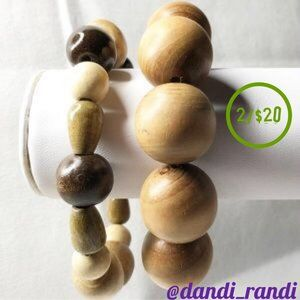 Two Chunky Wooden Bead Bracelets